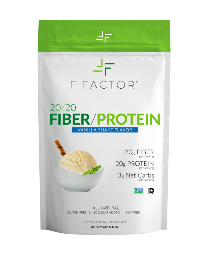 F Factor 20/20 Vanilla Protein Powder Front Label